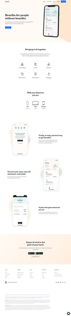 Catch: Personal, Portable Benefits for Everyone Landing Page Examples, Landing Page Design, Landing Page Inspiration, Web Design Inspiration, Design Ideas, Design Your Own Website, Web Ui Design, Graphic Design, Web Layout