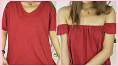 Diy - off shoulder top out of t-shirt (tagalog), rhaze, my crafts and diy projects T-shirt Refashion, Diy Clothes Refashion, Diy Off Shoulder Top, Shoulder Shirts, Diy Videos, Diy Clothes Videos, Diy Top, Umgestaltete Shirts, Diy Kleidung