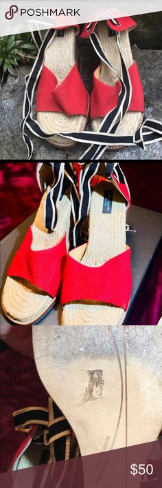 Kate Spade Espadrilles Wedges Kate Spade Espadrilles wedges. Red canvas. Blue and white wrap around ribbon. Size 8. Fits true to size. Only wore these twice. Blake stitch leather sole. Very comfortable! Make an offer!! kate spade Shoes Wedges