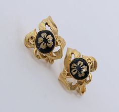 Vintage 70s Regency Retro Matte Goldtone Black Cabochon Plumeria Flower Scroll Earrings by ThePaisleyUnicorn, $6.00