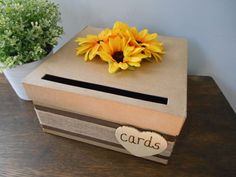 Rustic Wedding Card Box with Burlap Sunflowers by astylishdesign, $35.00