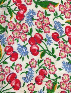 Vintage fabric - cherries
