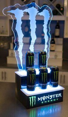 LED Lighted Liquor Shelves & Illuminated Home Bar Displays 2 Tiers Monster Energy, Drink Display, Bottle Display, Nitro Circus, Triumph Motorcycles, Motocross, Bar Displays, Kart, Led Light Bars