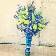 Peacock wedding blue green purple wedding bouquet lily button pom
