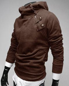 Zipper and Button Embellished Hooded Long Sleeve Men's Hoodie