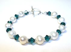 Freshwater Pearl and Green Crystal Birthstone Bracelet. $32.00, via Etsy.