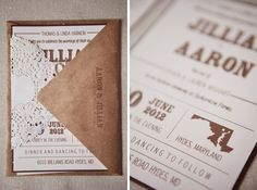Kraft envelopes with delicate doilies
