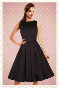 Robe swing sans manches Hepburn années 50 vintage Lola noire