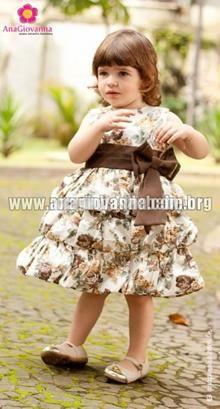 ba566b8272 Vestido Infantil Balonê Floral Marrom