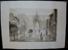 Eva Nikulin-Original Watercolour Painting of European City Street Scene | eBay $125.00