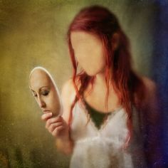At The End Of The Day 8x8 Conceptual Photograph. girl portrait, dark art, surreal photo print, mask, face, red.