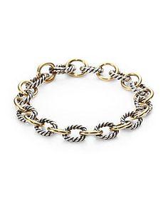 David Yurman 18K Yellow Gold & Sterling Silver Link Bracelet