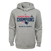 New England Patriots Youth Super Bowl XLIX Champions Trophy Collection Locker Room Pullover Hoodie – Gray