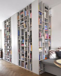 great use of space for bookshelves!