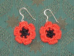 Yellow, Pink and Sparkly: Pretty Poppy Earrings. Red poppy earrings!  free pattern.