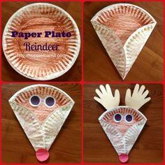 rendier van een papieren bordje, kerst, knutselidee, winter