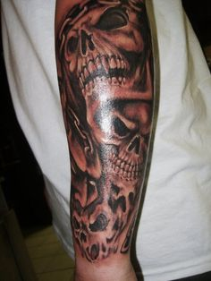 Awesome evil skull tattoo sleeves