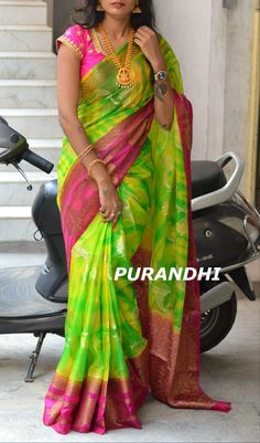 Shibori shaded kota silk saree with Jari creeper work all over comes with contrast pallu and Blouse. <br> Price : 3650/- <br> To order please contact on whats app : 9701673187 or Email : purandhistore@gmail.com 22 March 2018