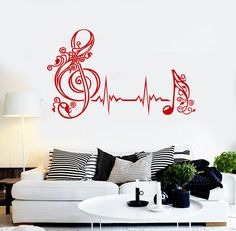Vinyl Wall Decal Musical Note Heartbeat Pulse Music Art Stickers (530ig)