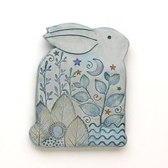 Ceramic rabbit, Clay bunny,Home Decor, Nature Inspired, hand made, wall art