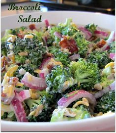 Broccoli Salad {Simple & Delicious} There is a very good reason for the longevity of Broccoli Salad. It is simple to make, delicious, can be made ahead of time (bonus!) and is easily customizable to suit your own family's likes and needs. I Love Food, Good Food, Yummy Food, Food For Thought, Easy Delicious Recipes, Healthy Recipes, Tasty, Soup And Salad, Pasta Salad
