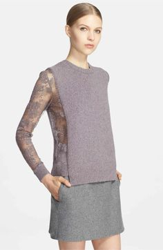 Main Image - Valentino Lace Inset Wool & Cashmere Sweater