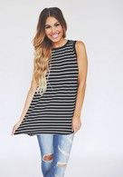 Stripe Front/ Polka Dot Back Tank - Final Sale