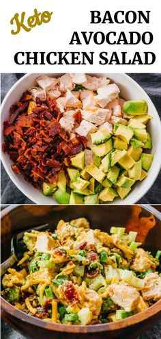 Looking for healthy lunch ideas? Make this delicious keto chicken salad loaded with bacon, avocado, and green onions! You can use rotisserie chicken to save time. No mayo needed. You can use your…More Guilt Free Keto Diet Friendly Lunch Ideas Low Carb Keto, Low Carb Recipes, Diet Recipes, Cooking Recipes, Healthy Recipes, Keto Recipes With Bacon, Bacon Meals, Low Carb Summer Recipes, Keto Carbs
