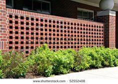 Superb Decorative Brick Fence | Decorative Brick Wall, Ornamental And Plesant.    Stock Photo