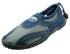 c7bb5e1cd370 Mens Navy Grey Waterproof Wave Protective Athletic Non-Slip Water Shoes ( Size