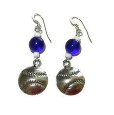 Royal Blue and White Baseball Charm Earrings от CloudNineDesignz