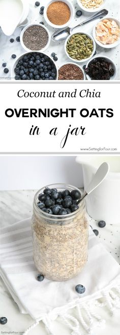 Coconut and Chia Overnight Oats In A Jar: Make this quick & yummy overnight oats recipe for a healthy breakfast or snack that's loaded with muscle-building protein and energy-boosting complex carbs. Grab and go - it's made in a mason jar! Overnight Oats In A Jar, Oatmeal In A Jar, Pots, Mason Jar Meals, Mason Jars, Breakfast Smoothie Recipes, Oats Recipes, Vegan Recipes, Food Journal