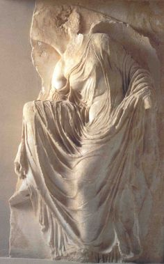"""""""Nike Adjusting Her Sandal,"""" marble relief, 410-405 BC, Temple."""