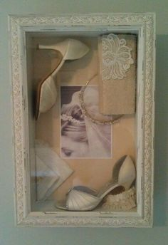 shadow box with wedding shoes, tiara, and wedding picture. I like this one to re… shadow box with wedding shoes, tiara, and wedding picture. I like this one to replicate with my keepsakes! Top Wedding Dresses, Gorgeous Wedding Dress, Wedding Shoes, Wedding Purse, Bridal Shoes, Mod Wedding, Dream Wedding, Wedding Day, Wedding Stuff
