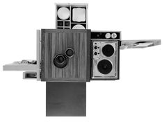 Design is fine. History is mine. — Joe Colombo, Mini Kitchen, For Boffi,. Kitchen Appliance Storage, Kitchen Appliances, Kitchen Gadgets, Fancy Kitchens, Small Kitchens, Big Kitchen, Kitchen Stuff, Vintage Kitchen, Kitchen Ideas