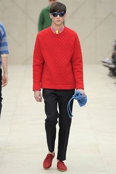 Burberry Menswear S/S14 Collection @ London Collections : Men. Red Knitwear Black Tailored Trousers.