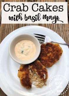 """I love to serve appetizers to my family as a fun """"snacky"""" meal- and these mini crab cakes served with basil mayonnaise are a family favorite! Mini Crab Cakes, Homemade Crab Cakes, Fish Recipes, Seafood Recipes, New Recipes, Kids Meals, Easy Meals, Cake Servings, Thing 1"""
