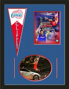 Two framed 8 x 10 inch Los Angeles Clippers photos of Blake Griffin   (including one HORIZONTAL photo framed in an oval) with a Los Angeles Clippers mini felt banner, double matted in team colors to 24 x 18 inches.  The lines show the bottom mat color.  The oval photo will be cropped to fit.  (Pennant design subject to change)  $89.99 @ ArtandMore.com