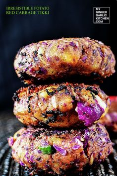 Irresistible Potato Red Cabbage Tikki is a new twist to Aloo (Potato) Tikki, a very popular north Indian snack. Adding freshly grated cabbage gives it a nice purplish color and crunchiness.