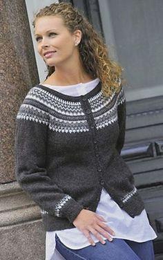 Ravelry: Jakke med rund sal pattern by Gerd Auestad Sweater Knitting Patterns, Knitting Designs, Knit Patterns, Fair Isle Knitting, Free Knitting, Norwegian Knitting, Cardigan Design, Icelandic Sweaters, Nordic Sweater