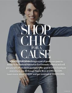 Shop Chic for a Cause at #chicos!  DONATE YOUR DENIM Bring in a pair of gently worn jeans to donate to the National Network to End Domestic Violence and we'll give you $20 off any denim purchase. Learn more about NNEDV and get involved at NNEDV.ORG.  Offer good at Chico's boutiques everywhere, July 30 through August 18, or at CHICOS.COM.