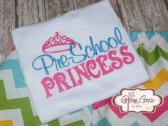 Preschool Princess Embroidered Bodysuit, Shirt or Dress - Applique Dress or Shirt