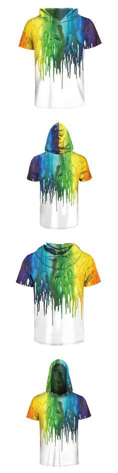 Fashion Paint 3d Print Hooded Tshirt Men Short Sleeve O-Neck T Shirt White Shirts Casual Loose Breathable Summer Tops Kawaii