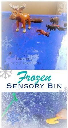 Add some science to your toddler and preschool sensory bin as you explore frozen water and arctic animals.