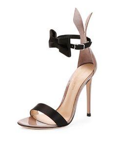 S0B9W Gianvito Rossi Bow-Tie Ankle-Strap Bunny Sandal, Black/Rosie