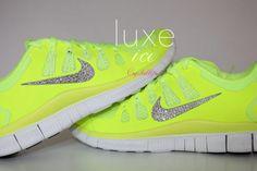 NIKE run free 5.0 running shoes w/Swarovski Crystals detail - Neon yellow