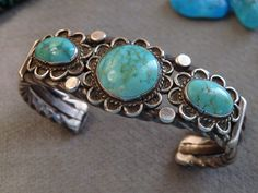 SUPERIOR Antique NAVAJO Natural CARICO LAKE TURQUOISE STERLING Silver 54G CUFF