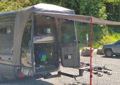 Ford Transit Conversion, Sprinter Van Conversion, Sprinter Camper, Mercedes Sprinter, Ford Transit Custom Camper, Van Camping, Camping Stuff, Camper Awnings, Tent Stakes