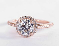 1.5 Carat Diamond in the Classic Halo Diamond Engagement Ring in rose gold | Blue Nile