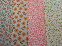 Vintage Calico Fabric Bundle Fall Colors Lot of 4